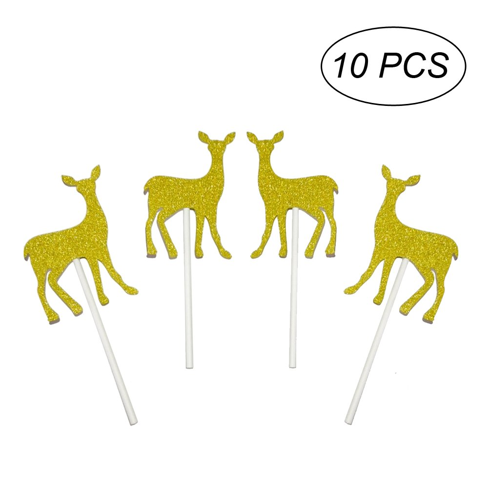 Amazon.com: BESTOYARD 10PCS Deer Cupcake Toppers Cake Toppers for ...