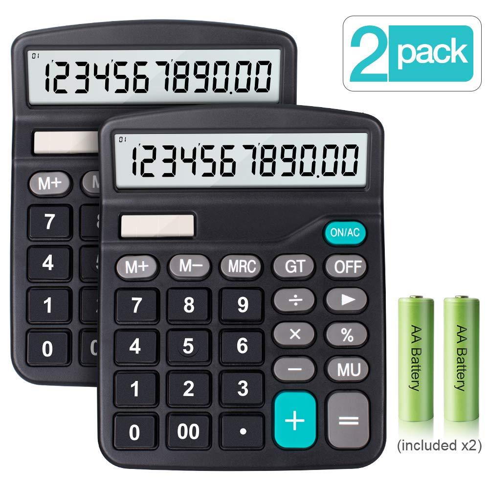 Gro/ßes LCD-Display Standard Taschenrechner Schwarz Desktop Rechenmaschine Gro/ßer Knopf 12-stelligem Sonnenenergie und Batterie betrieb 2 Pack Taschenrechner