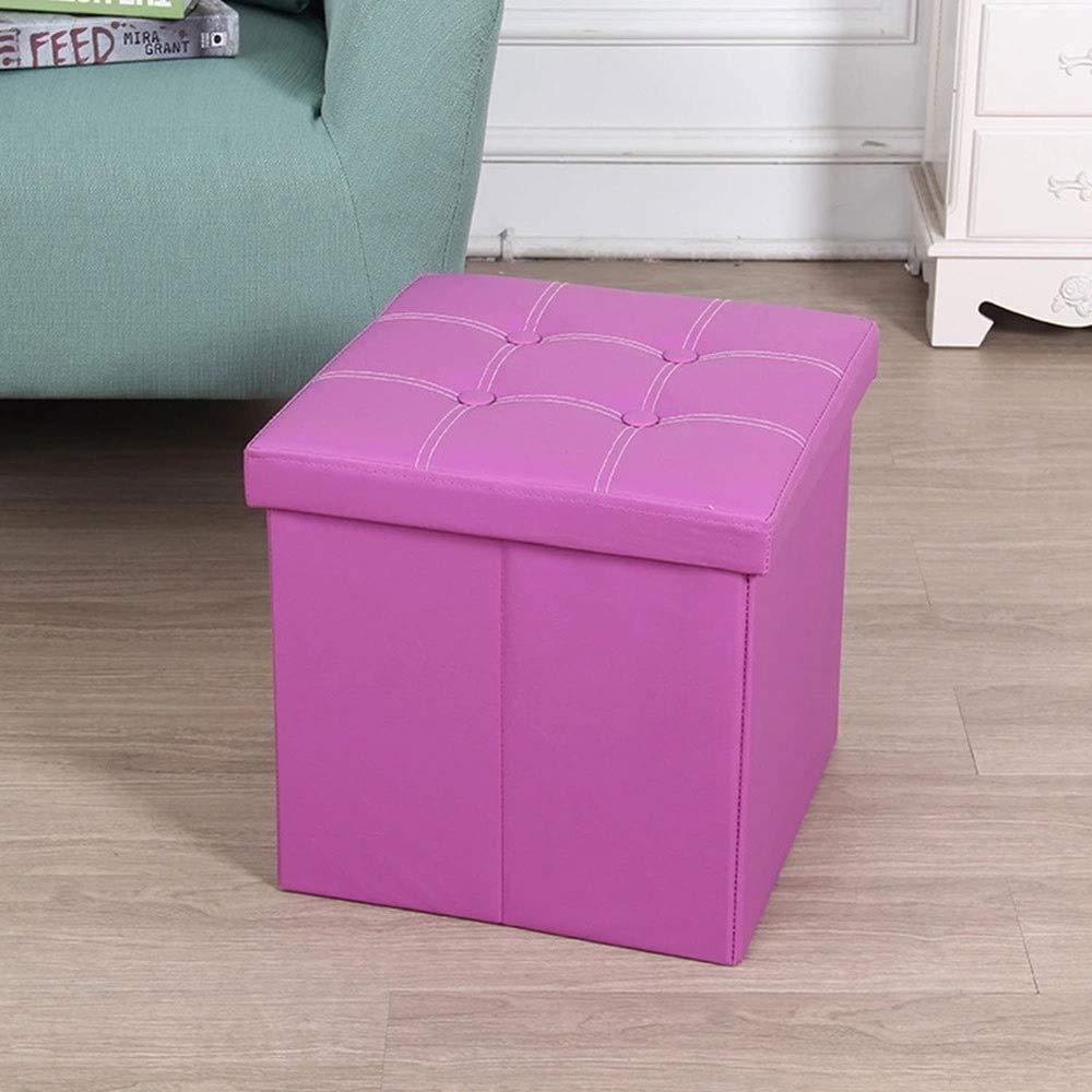ZHOU YANG Faux Leather Folding Storage Cube Foot Rest Stool Seat. Bench Foot Rest Stool Seat Black 15''X15''X15'' (Color : Purple)