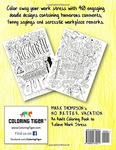 Amazon No Better Vacation An Adult Coloring Book To Relieve Work Stress Volume 2 Of Humorous Books Series By Mark Thompson