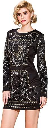 Miss ord Women's Long Sleeve Halter Studded Casual Mini Dress with Zipper Black