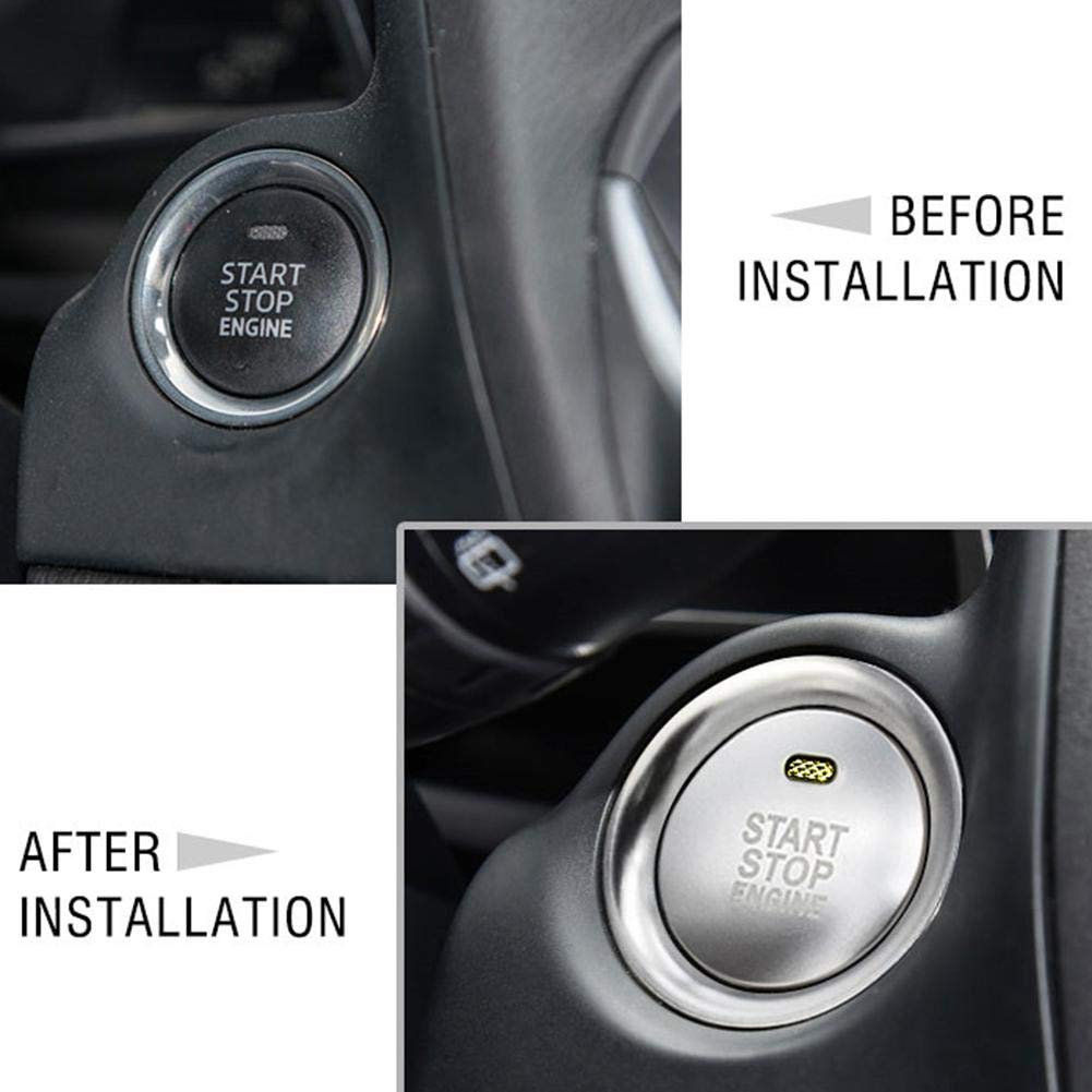 YOUNGFLY Car Inner Styling Sticker Console Engine Start//Push Button Trim Cover Interior Decoration Fit For Mazda 3 Red