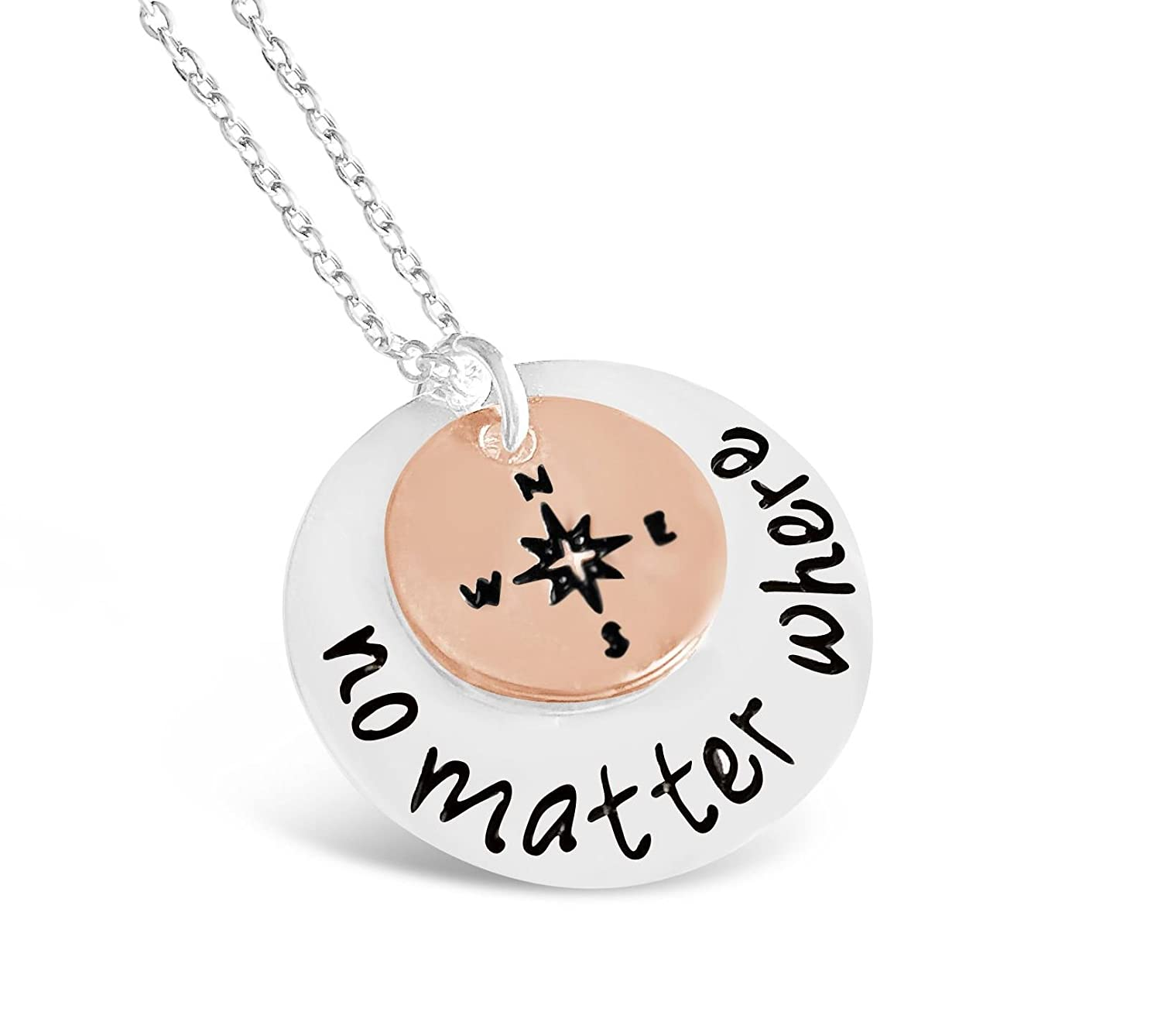 Rosa Vila No Matter Where Compass Necklace, Long Distance Friendship Necklace, Compass Necklace for Women, Cousin Gifts, Compass Jewelry for Women, Best Friends Necklaces