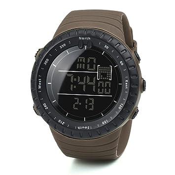 Reloj para hombres Moda Negro Deportes Banda elástica Digital Ejército Militar Cuarzo Reloj de pulsera LMMVP (Tamaño libre, Café): Amazon.es: Deportes y ...