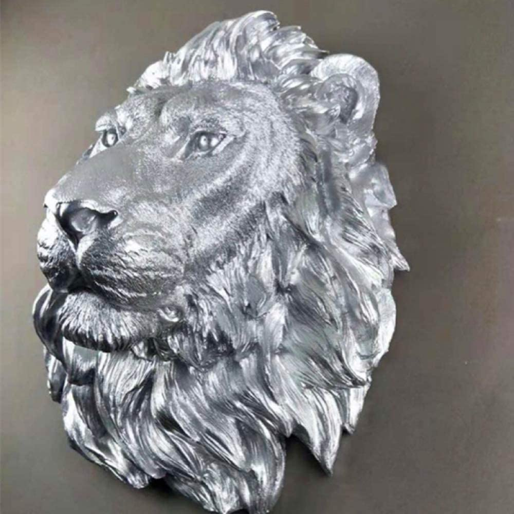 Figurines,Statues,Statuette,Sculptures,Large Size Silver Lion Head Animal Head Resin Pendant Wall Ornaments Home Accessories For Living Room Bedroom Bookcase Desktop Home Decoration Crafts And Gifts