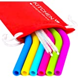 Silicone Straws for 30 oz Tumbler Yeti - 6 Regular Straws Reusable Straws + 2 Brushes + One Red Pouch - Silicone Straws Complete Bundle
