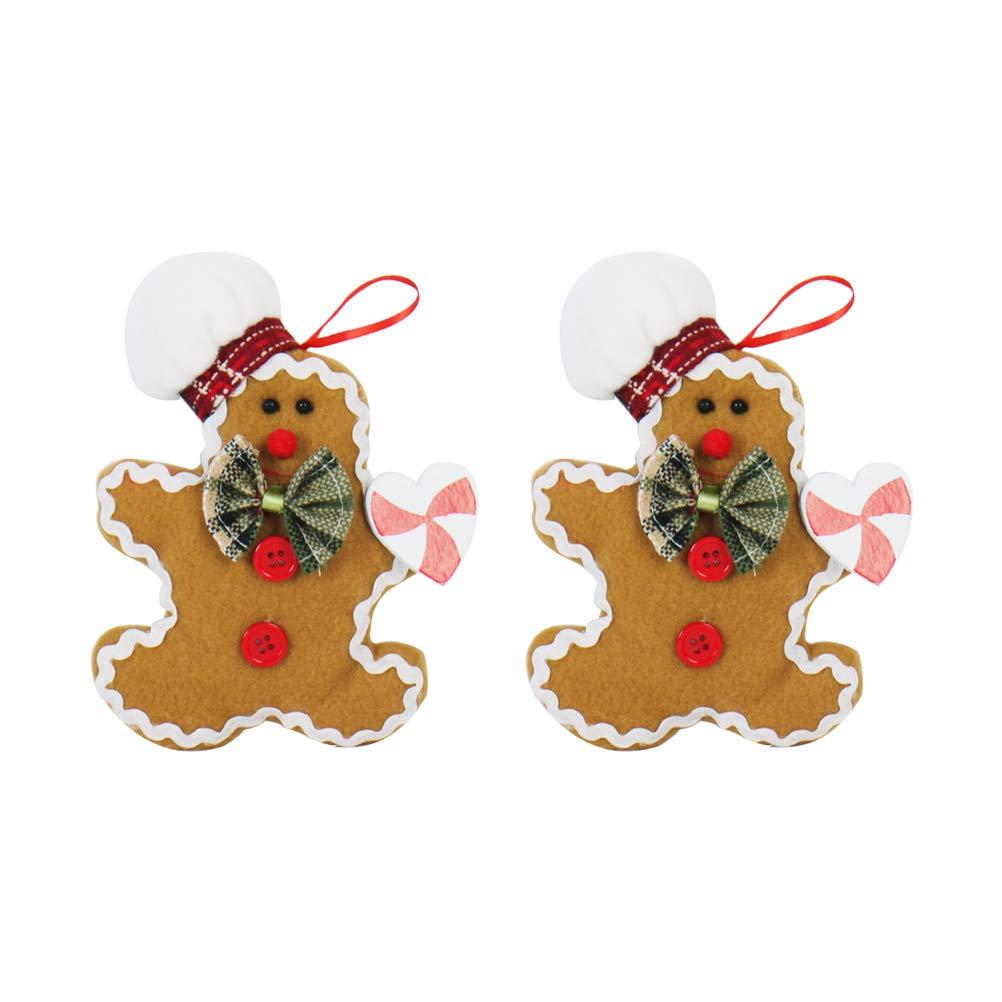 BESTOYARD 2pcs Gingerbread Man Hanging Decorations Christmas Tree Pendants Ornament Bags Party Supplies