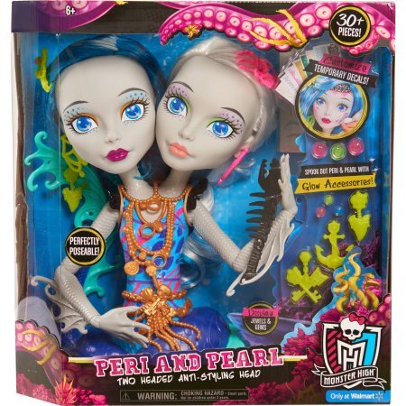 (Monster High Peri and Pearl Serpentine Styling Head With 30 Accessories Glow In The Dark 6 years Old)