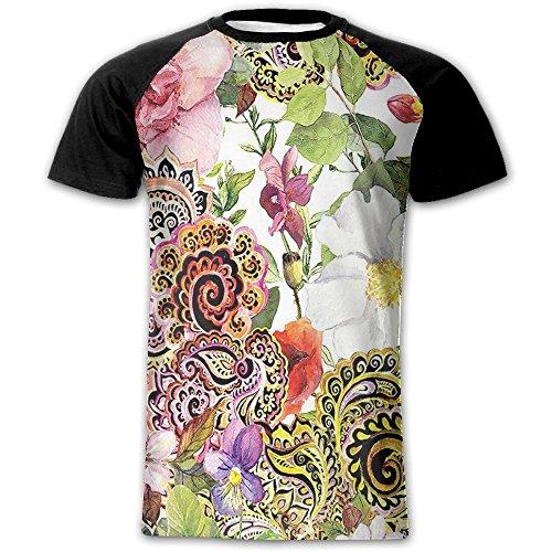 Newfood Ss Paisley Design Floral Decor Blooming Flowers Bouquet of Roses Digital Printed Tapestry Men's Short Sleeve Raglan T M