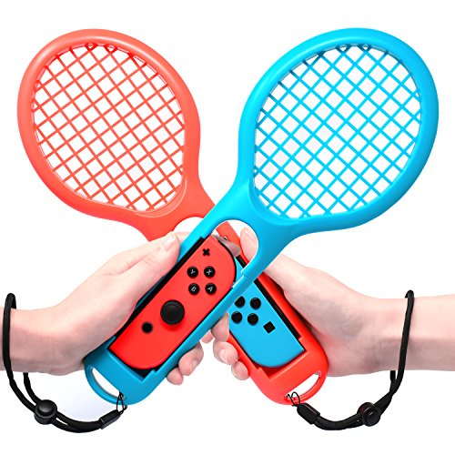 FastSnail Tennis Racket for Nintendo Switch Joy-con, Accessories for Mario Tennis Aces Game, Grips for Switch Joy-con (Blue and Red)
