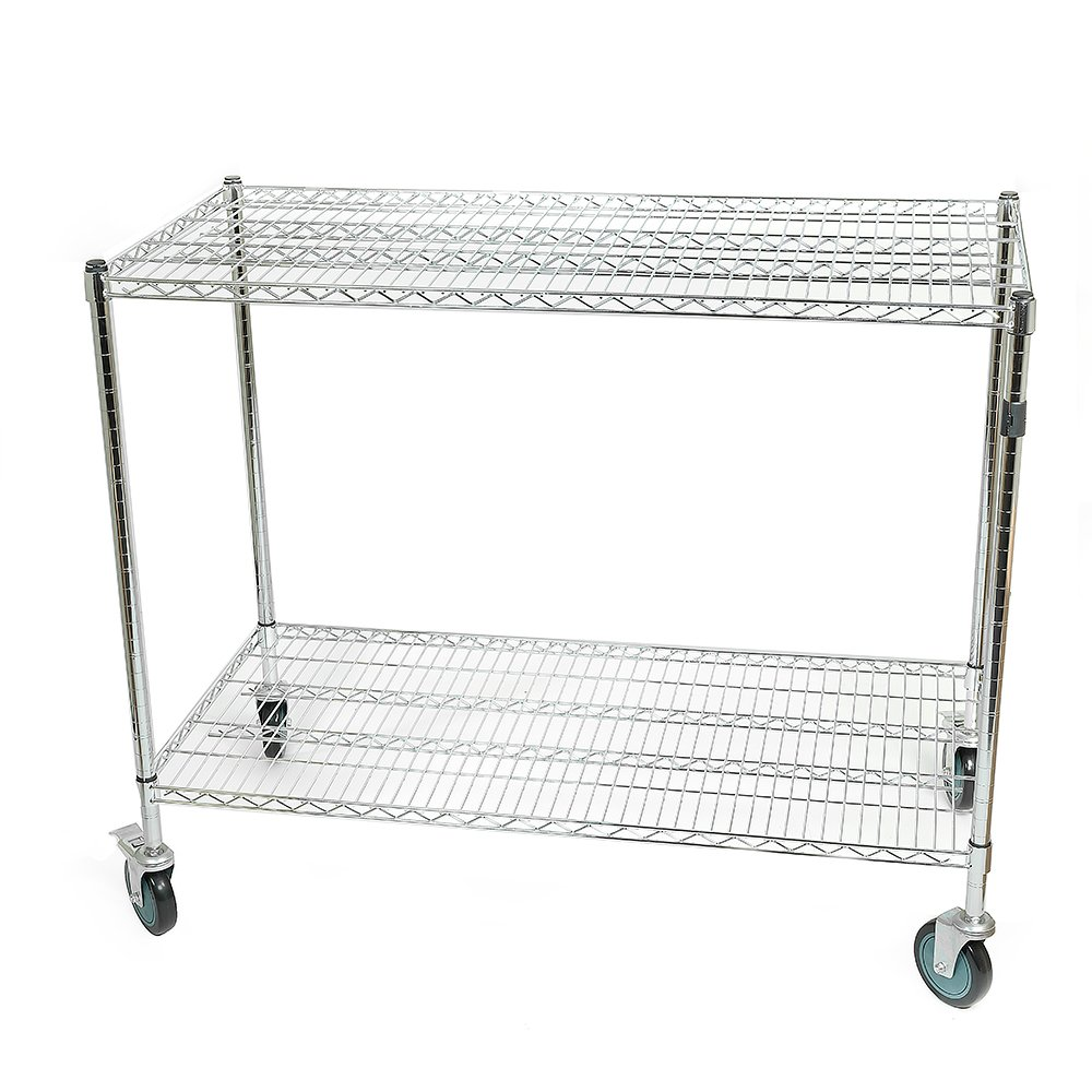 Wipick Large Warehouse Store Stock Picker Service Car Heavy Duty 1000 lbs Capacity 48x24.5x40 Inch All Purpose Chrome Wire Utility Cart with 2 Lockable 5 Inches Swivel Casters