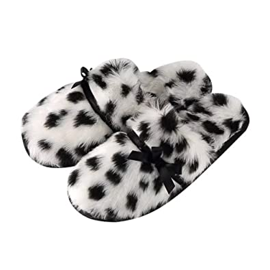 Slippers For Womens Leopard Cotton Washable Soft Warm Non-Slip Flat Closed Toe Indoor Shoes