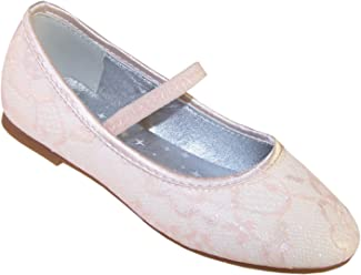 10e456359aad94 Girls  Ivory Sparkly Flower Girl Dress Bridesmaid Shoes for Special  Occasions Synthetic Ballet-Flats