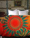 Boho Duvet Cover - Handcrafted Orange Moroccan Bohemian Duvet - West Indies | UBU Republic (King)