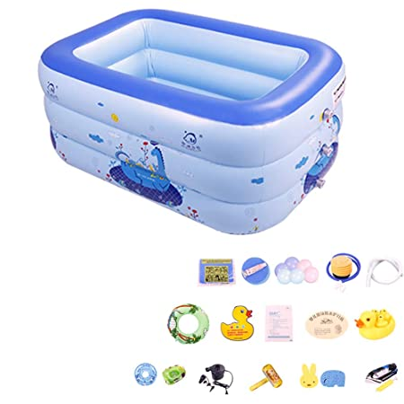 BEAGHTY Piscina Inflable, Piscina Cuadrada Hinchable para ...