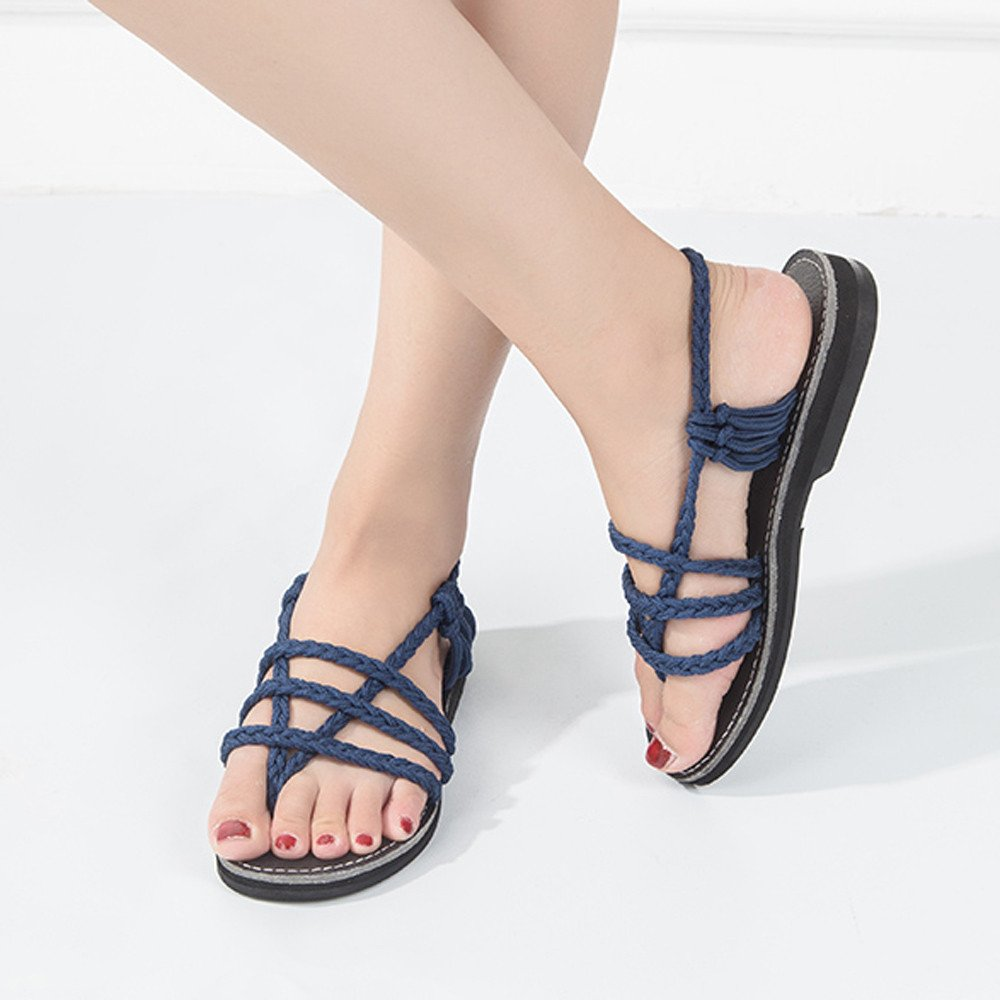 Clearance Sale Shoes For Shoes,Farjing Women Cross Roman Pinch Sandal Summer Shoes Slipper Fashion Beach Flat Shoes(US:8.5,Blue) by Farjing (Image #3)