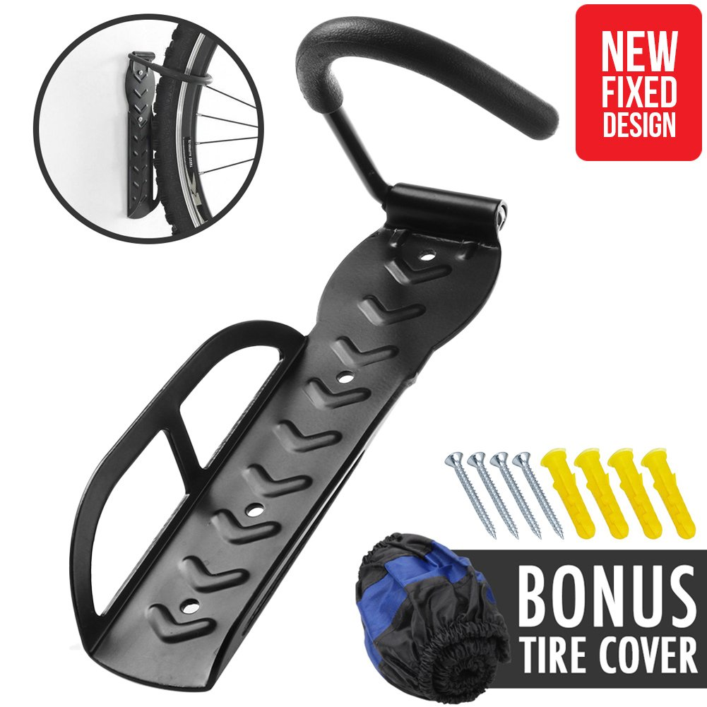 Vertical Hanging Wall Bike Rack Storage Hanger Hold Up to 66 lbs with Military Grade Steel and Anti Slip Rubber Hook for Mountain Bicycle Kids Bike on Ceiling Indoor Storage Home Garage