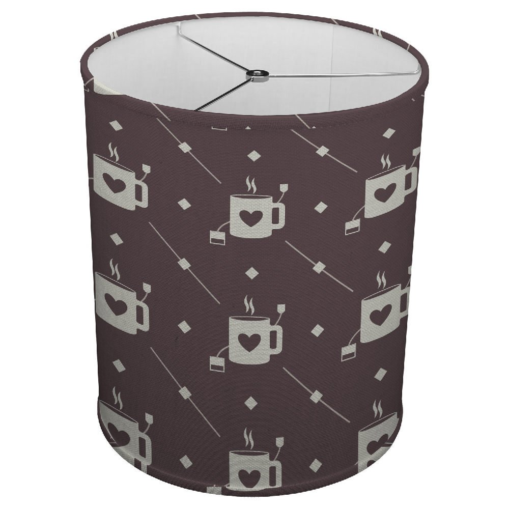 Hardback Linen Drum Cylinder Lamp Shade 8'' x 8'' x 8'' Spider Construction [ Coffee Love Tea Mug ]