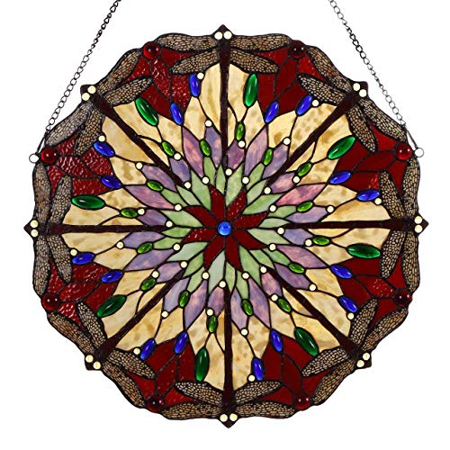Bieye W10012 22 inches Dragonfly Tiffany Style Stained Glass Window Panel with Hanging Chain ()