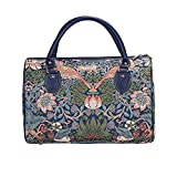Blue Floral William Morris Strawberry Thief Travel Duffel Weekender Bag Hand Luggage Overnight Bag by Signare (TRAV-STBL)
