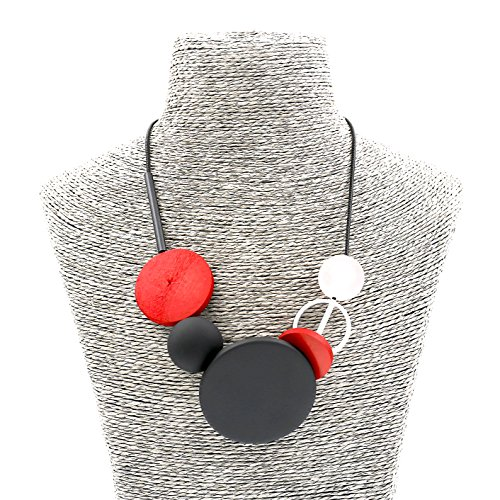Fashion Jewelry Girls Boho Long Round Wooden Charms Bubble Statement Necklace for Women (Red)