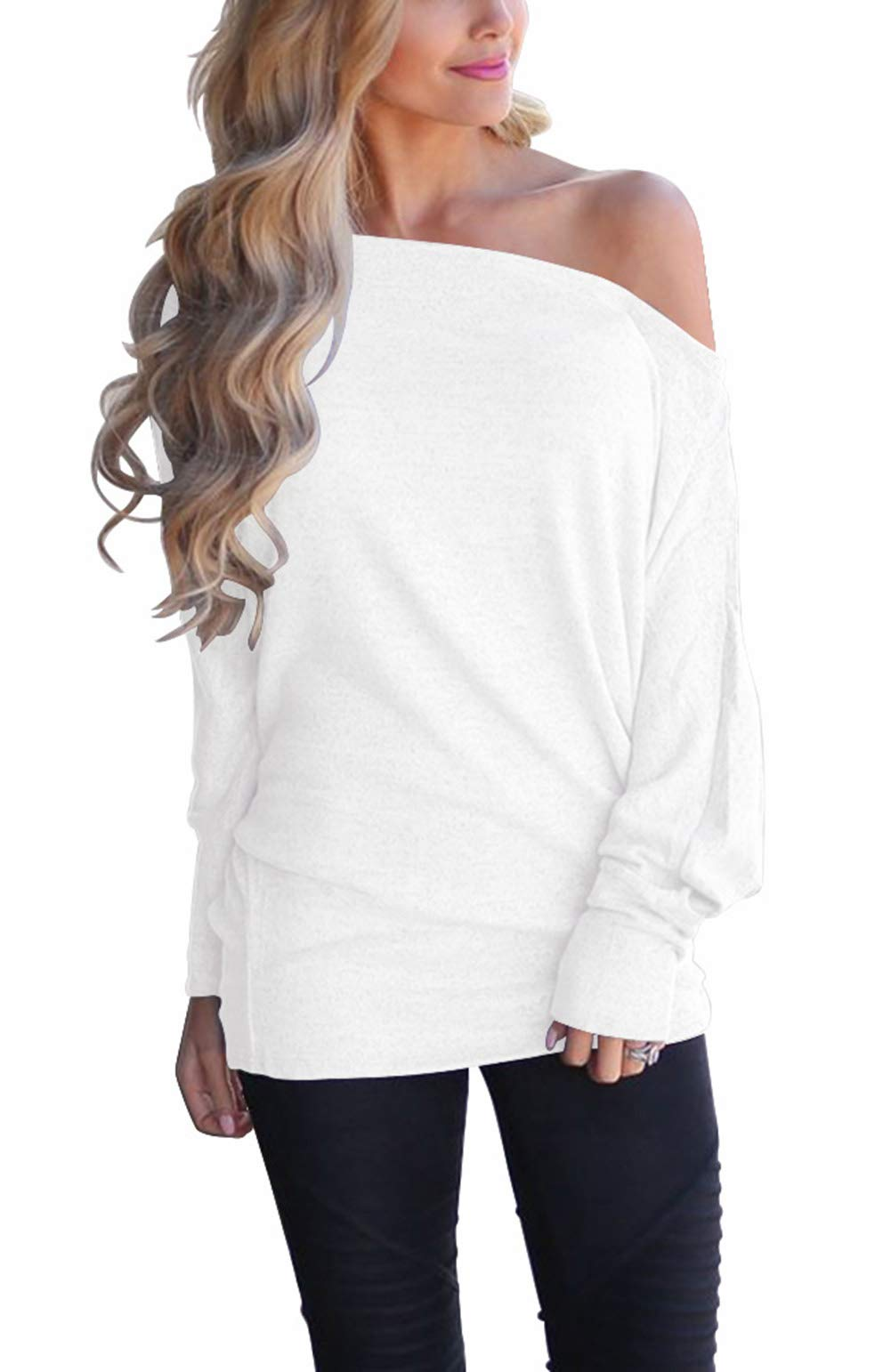 LACOZY Women's Off Shoulder Pullover Sweater Batwing Long Sleeve Shirts Tunic Tops Oversized Sweatshirts White Medium by LACOZY