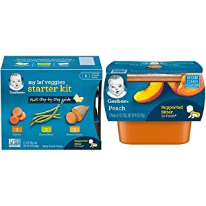 Gerber Purees My 1st Vegetables, Box of 6 2 Ounce Tubs (Pack of 2) & 1st Foods, Peach Pureed Baby Food, 2 Ounce Tubs, 2 Count (Pack of 8)