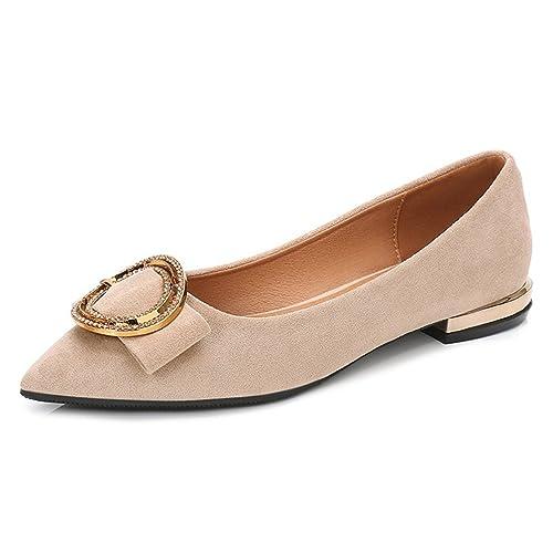 JRenok Mocasines de Ante Mujer, Beige (Beige), 36 EU=longueur Du Pied 230 mm: Amazon.es: Zapatos y complementos