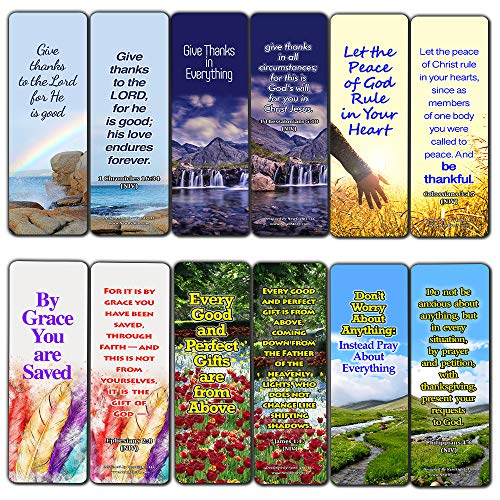 Thankful Bible Verses Bookmarks (60 Pack) - Perfect Giveaways for Sunday School and Ministries