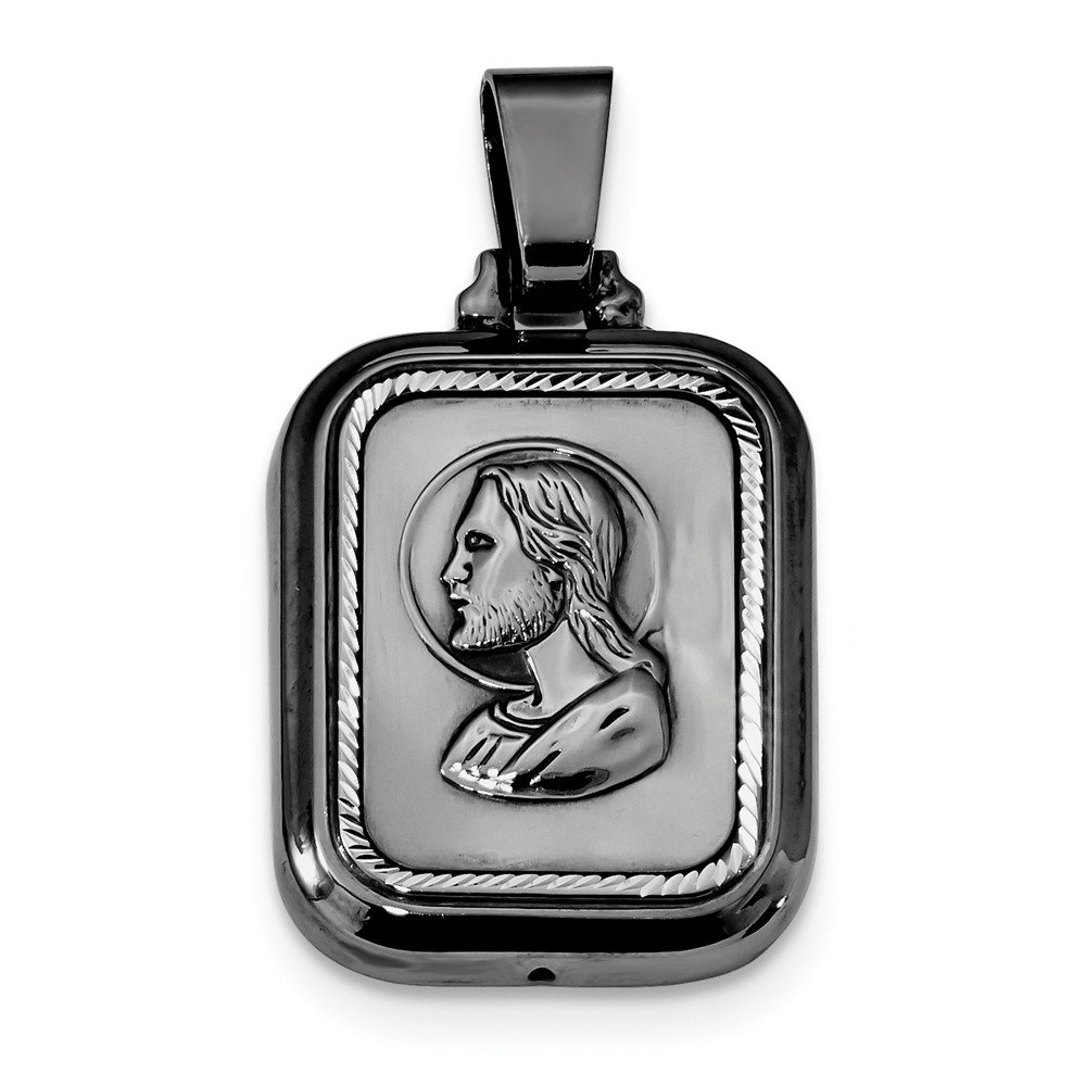 Sterling Silver Themed Jewelry Pendants /& Charms Reversible 22 mm 41 mm Polished Ruthenium-The Lords Prayer Pendant