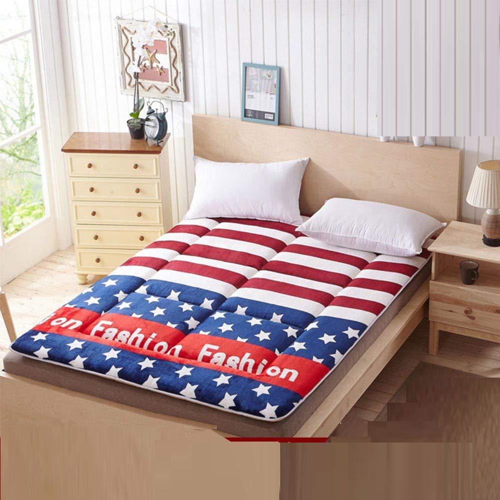 H W150xH200cm(59x79inch) Padded Warm Mattress,Tatami Floor mattres Sleeping mat Student Dormitory Single Sponge pad Cotton-Padded Mattress Soft Mattress-E W150xH190cm(59x75inch)