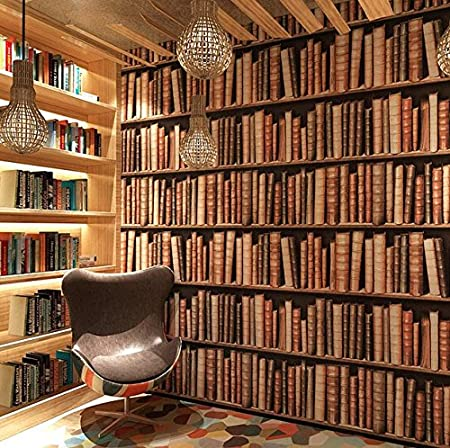 Poowef Wallpaper Bookcase Bookshelf 3D Three Dimensional Chinese Background