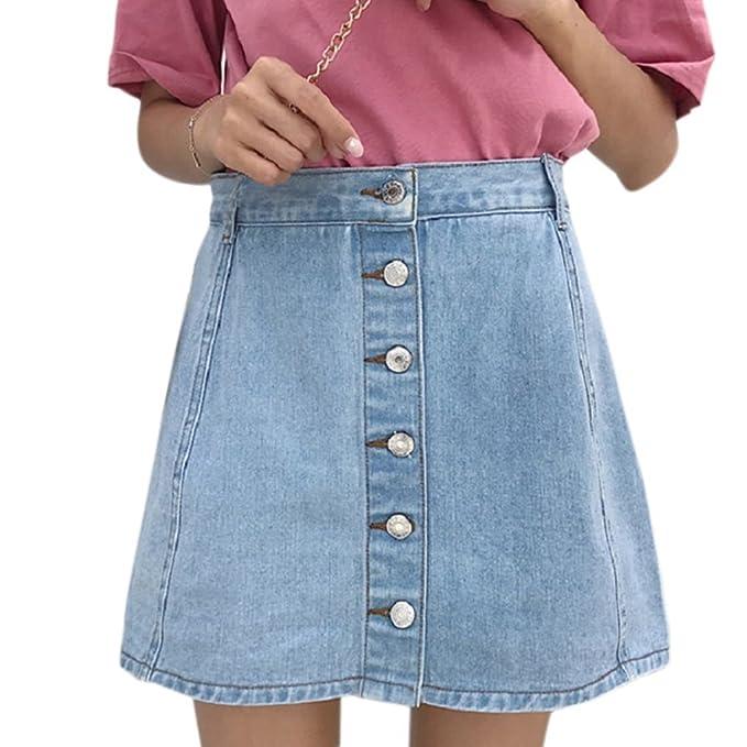 Republe Botón de Las Mujeres del Dril de algodón de la Falda de ...
