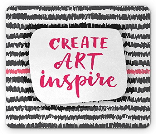 Lunarable Quote Mouse Pad, Create Art Inspire Brush Stroke Lettering on Scribbled Zigzag Rows, Standard Size Rectangle Non-Slip Rubber Mousepad, Pink Charcoal Grey and (Grey 1st Row)