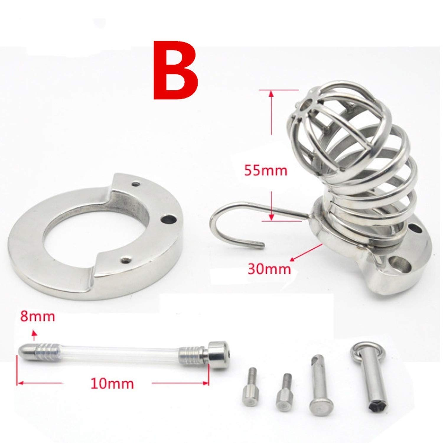 Male Cha'stity Cage 316L Stainless Steel Lock with Soft Sound Càtheter MaleD-ick Cage CBT Intimacy Toy for Man,B with Càtheter,40mm T-Shirt by PIEUFo T-Shirt