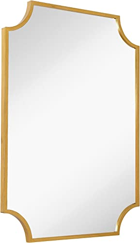 Hamilton Hills Gold Metal Framed Wall Mirror Scalloped Shape Mirror 30 x 40 Solid Horizontal or Vertical Vanity Mirror