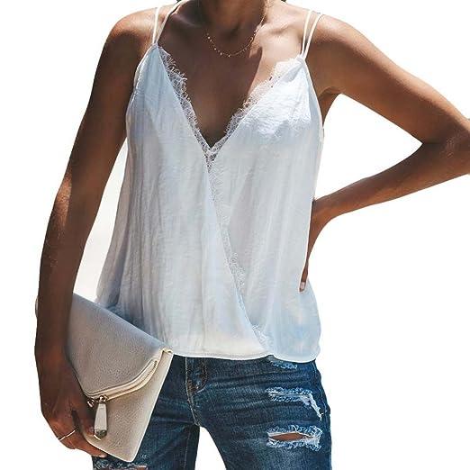 f5257b62ec6cba RNTop® Women's White Tank Top, Women Cotton Lace Sexy Tank Top Vest V Neck  Camisole Sleeveless T-Shirt at Amazon Women's Clothing store: