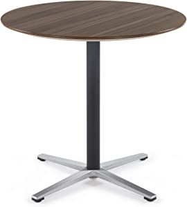 Sunon Round Bistro Table Small Round Table with X-Style Pedestal for Pub Table/Cafe Table/Office Table/Cocktail Table (Kass Walnut,30-Inch Height)
