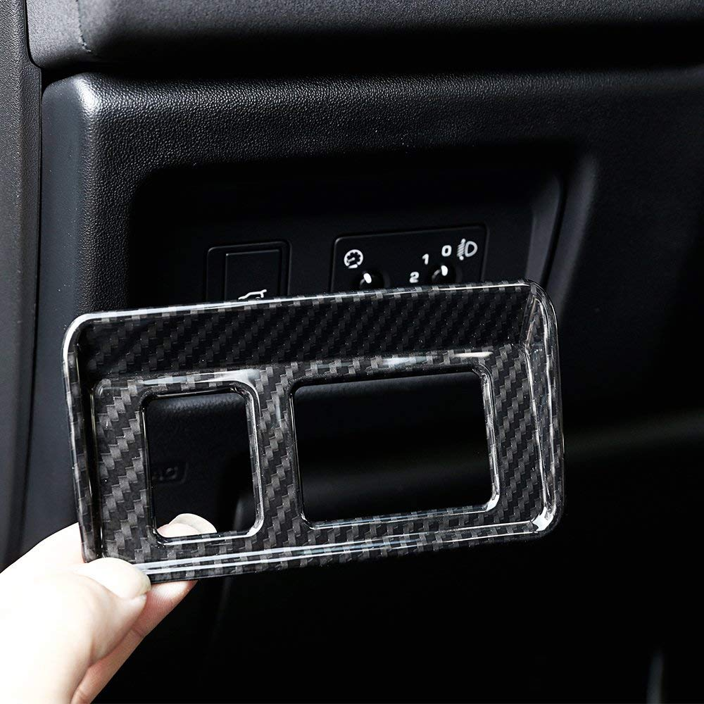 Carbon Fiber YIWANG ABS Car Interior Tail Door Switch Button Frame Trim 1Pc for Land Rover Discovery Sport 2015-2018 Car Accessories(Low Match)