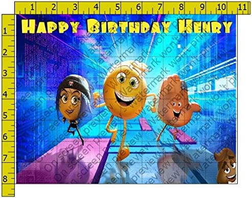 Emoji Movie Personalized Birthday Edible Frosting Image 1 4 Sheet Cake Topper Amazon Grocery Gourmet Food