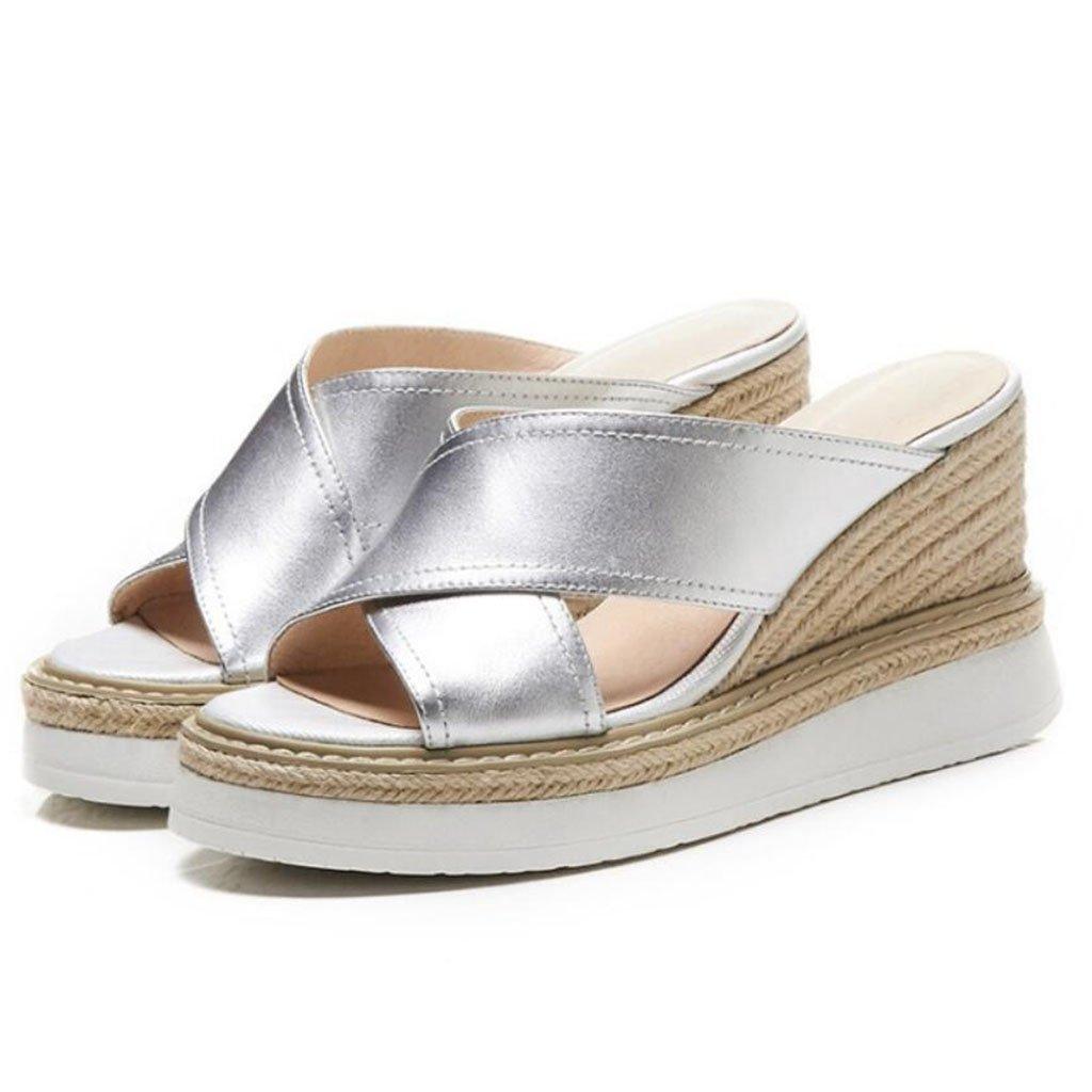 GAOLIXIA Sandalias de cuero de la T-correa de las mujeres Bombas Zapatillas de paja clásicas de verano Tacones de cuñas de moda Tacones altos (Color : Plata, tamaño : 36) 36|Plata