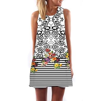 ... Unterkleid Jahrgang Ärmellos Gedruckt Kurz Boho Blusenkleider  Tunikakleid Rockabilly Kleid Swing Kleider Tunikakleid Knielang  Amazon.de   Bekleidung 424747aaad