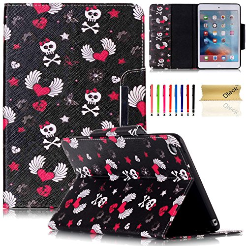 iPad Air 2 9.7 Inch Case with Stylus Pen, Dteck Protective PU Leather Smart Case with [Auto Sleep/Wake] Cute Cartoon Flip Folio Stand Wallet Cover for Apple iPad Air 2 2014 Model(Cartoon Skull)