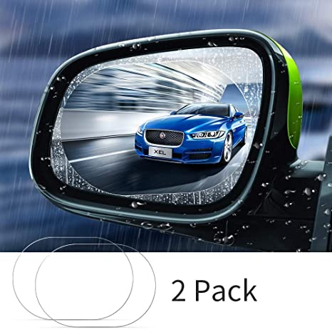 Rec+Oval Car Rearview Mirror and Side Window Films /—4 Pack 5.7x3.9Inch+5.9x7.9Inch Universal Rainproof Car Rear View Mirror Window Clear Nano Car Anti Fog Anti-Glare,Anti-Scratch Protective Film