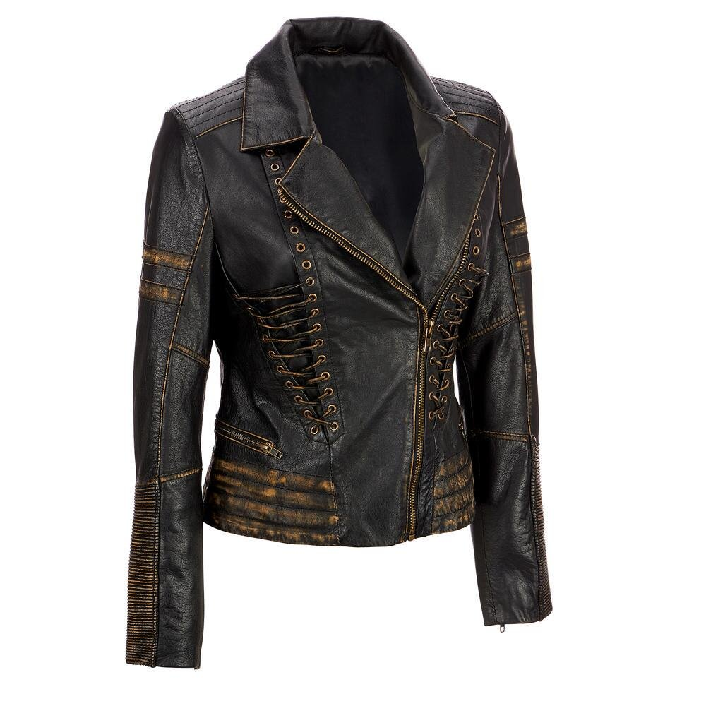 Wilsons Leather Womens Vintage Distressed Leather Asymmetric Jacket W/ Lace-Up D