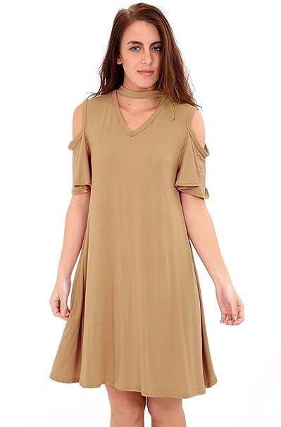 d81daaa78 SILVA   SONS Camiseta para Mujer túnicas Casual Vestido Corto Gargantilla  de Manga Volante V Cuello Swing Vestido Damas Top 8 - 26 Plus tamaño   Amazon.es  ...