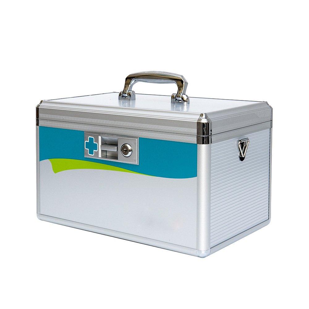 Wangmy Aluminiumlegierung Medizinschrank Familie Notfall Medizin Aufbewahrungsbox Hause Medizinische Multilayer Erste-Hilfe-Box Umweltfreundliche Material 14 Zoll