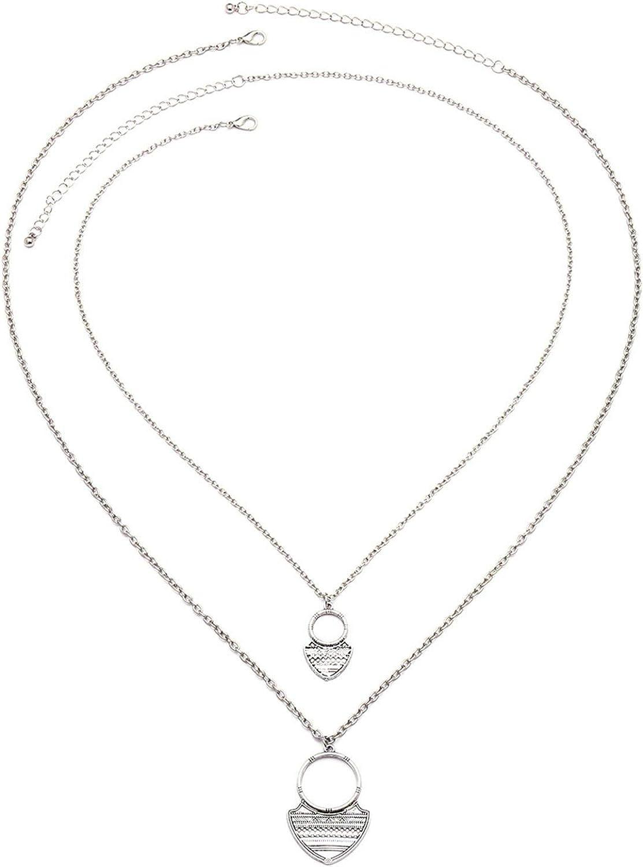 Daesar Collar Aleación Mujer Colgante Collar Geométrico Collar Multicapas Colgante Collar Plata