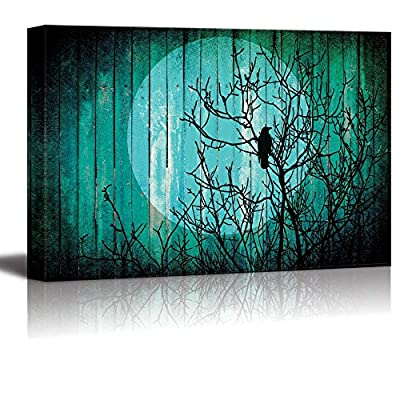 Silhouette of a Tree with a Crow on The Branches and The Moon on The Back Over Teal Wood Panels, Classic Design, Grand Expertise