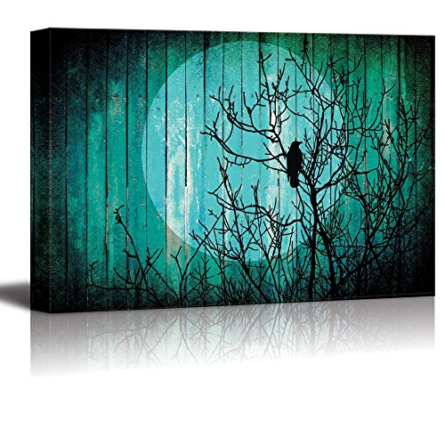 wall26 Silhouette of a Tree with a Crow on the Branches and the Moon on the Back Over Teal Wood Panels - Canvas Art Home Decor - 24x36 inches -